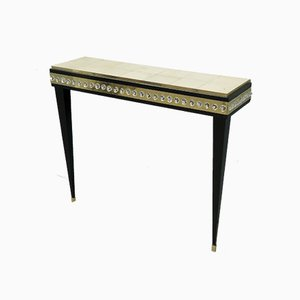 Murano Glass, Brass & Goatskin Console Table, 1950s