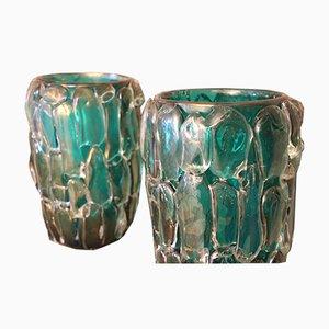 Jarrones grandes de cristal de Murano de Cenedese años 70. Juego de 2