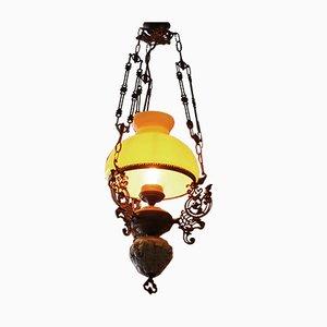 Lampada ad olio Mid-Century in ottone