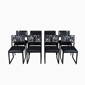 Black Steel, Ebonized Walnut, Leather & Cow Hide Shaker Dining Chairs by Ambrozia, Set of 8