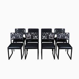 Sedie da pranzo Shaker in acciaio nero, noce ebanizzata e pelle di mucca di Ambrozia, set di 8