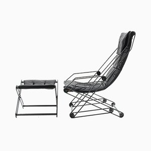 Italian Modern Lounge Chair with Ottoman, 1990s