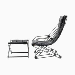 Italienischer Moderner Sessel mit Fußhocker, 1990er