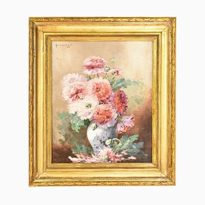 19th Century Peonies Still Life Oil Painting by Marie Audouir Dubreuil