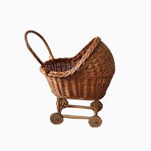 Antiker Korbgeflecht Spielzeug Kinderwagen