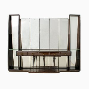 Walnut Sideboard with Mirrors by Guglielmo Ulrich for Ar.Ca, 1940s