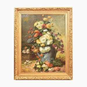 19th Century Peonies and Watering Can Oil Painting by Pol Noel