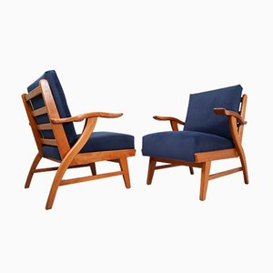 French Ash Armchairs by Guillerme et Chambron, 1960s, Set of 2