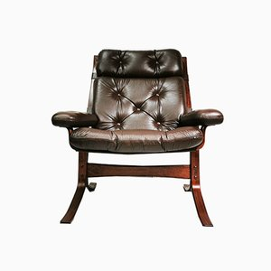 Norwegian Leather Armchair, 1960s