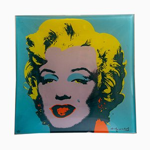 Glass Silk Screen Plate of Marilyn Monroe by Andy Warhol for Rosenthal Studio Line, 1980s