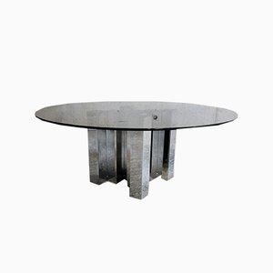 Tavolino da caffè in metallo cromato, anni '70