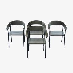 Chaises de Salon Vintage en Cuir et en Métal, Set de 4