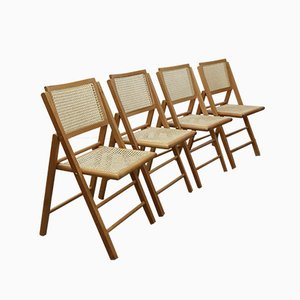 Vintage Rattan Folding Chairs, Set of 4
