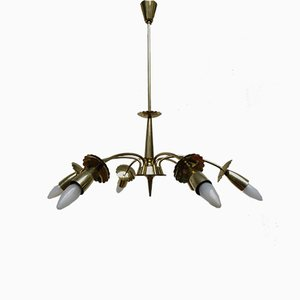Brass Floral Ceiling Lamp, 1950s