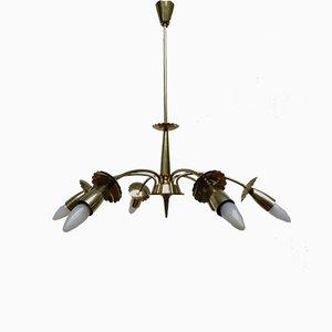 Florale Messing Deckenlampe, 1950er