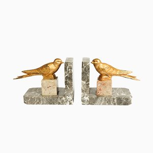 Art Deco Gilt Metal & Marble Birds Bookends, 1930s, Set of 2