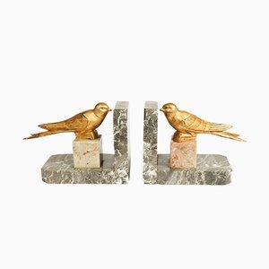 Art Deco Vogel Buchstützen aus Metall & Marmor, 1930er, 2er Set