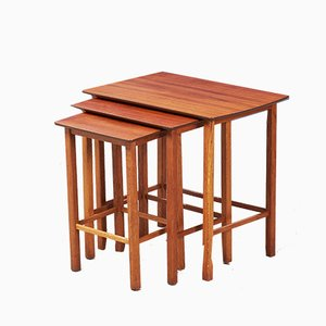 Mid-Century Danish Teak and Oak Nesting Tables, 1960s