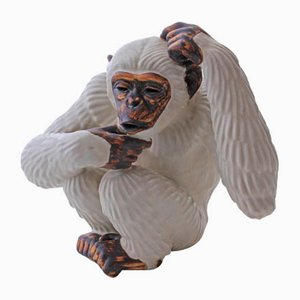 Swedish Chimpanzee Sculpture by Gunnar Nylund for Rörstrand, 1950s