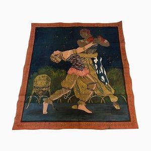 Peinture Art Déco Orientale sur Tissu, années 20