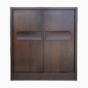 Belgian Brutalist Oak Bar Cabinet from De Coene, 1973