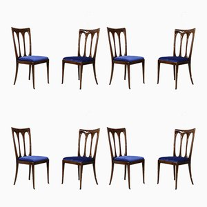 Chaises de Salle à Manger en Velours par Guglielmo Ulrich, années 50, Set de 8