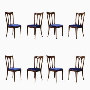 Samt Esszimmerstühle von Guglielmo Ulrich, 1950er, 8er Set