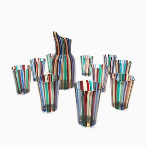 September Pitcher with Tumblers by Gio Ponti for Venini, 1948, Set of 11