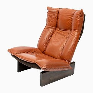 Dutch Modern Leather & Wood Lounge Chair from Leolux, 1974