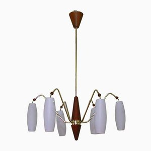 Mid-Century Scandinavian Teak & Satin Glass Ceiling Lamp