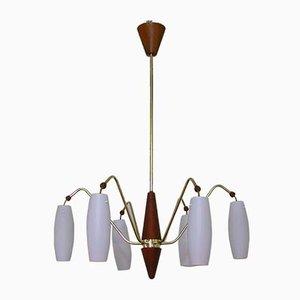 Skandinavische Mid-Century Teak & Satin Glas Deckenlampe