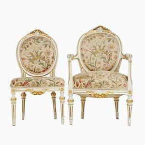 Antike Gustavianische Esszimmerstühle, 5er Set