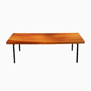 Vintage Cherry & Lacquered Metal Bench