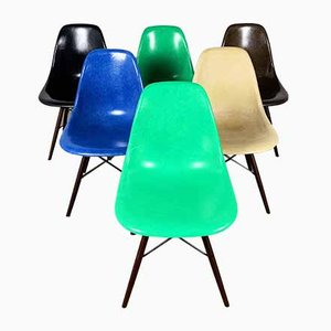 Fiberglass Dining Chairs by Charles & Ray Eames for Herman Miller, 1980s, Set of 6