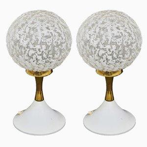 Lampes de Bureau Vintage en Verre, Set de 2