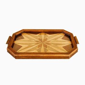 Art Deco Tablett aus Holz mit Intarsien