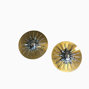 Golden Brass and Chrome Sputnik Sconces from Schröder & Co, 1970s, Set of 2