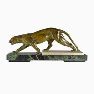 Large Art Deco Metal & Marble Panther Sculpture, 1930s