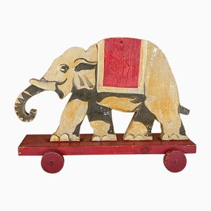 Vintage Toy Elephant on Casters, 1930s