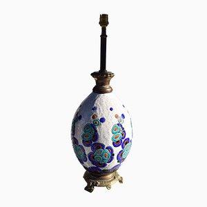 Vintage Steingut Tischlampe von Charles Catteau für Keramis