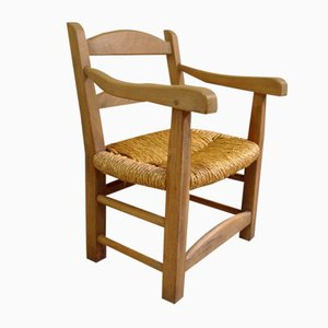 Mid-Century Elm & Straw Lounge Chair