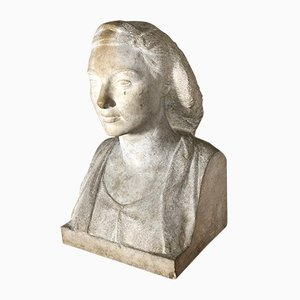 Vintage Art Deco Female Bust Sculpture from Firmin Michelet