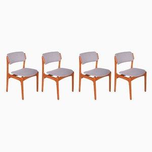 Chaises de Salle à Manger 49 en Teck par Erik Buch pour Oddense Maskinsnedkeri / O.D. Møbler, années 60, Set de 4