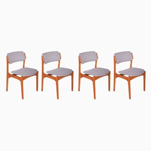 Teak 49 Dining Chairs by Erik Buch for Oddense Maskinsnedkeri / O.D. Møbler, 1960s, Set of 4
