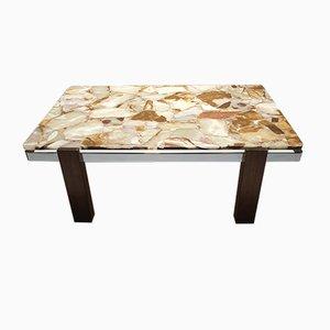 Tavolino da caffè Mid-Century in onice, metallo cromato e teak, anni '60