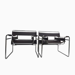 Fauteuils Modèle Wassily par Marcel Breuer pour Gavina, Italie, années 60, Set de 2