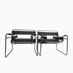Italienische Modell Wassily Sessel von Marcel Breuer für Gavina, 1960er, 2er Set
