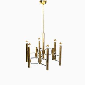 Moderne italienische Vintage Deckenlampe aus Messing & Chrom von Profilli für Profili Industria Lampadari Spa