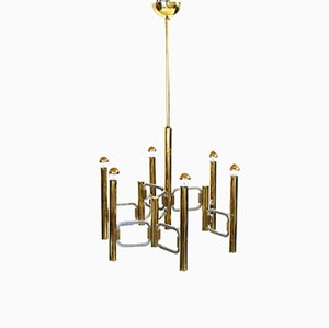 Vintage Italian Modernist Brass & Chrome Ceiling Lamp by Profilli for Profili Industria Lampadari Spa