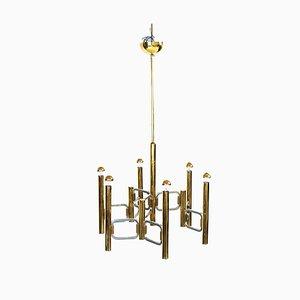 Lámpara de techo italiana modernista vintage de latón y cromo de Gaetano Sciolari para Sciolari